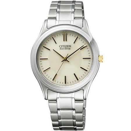 CITIZEN Eco-Drive 輕盈都會時尚腕錶-淡金/銀 FRB59-2452