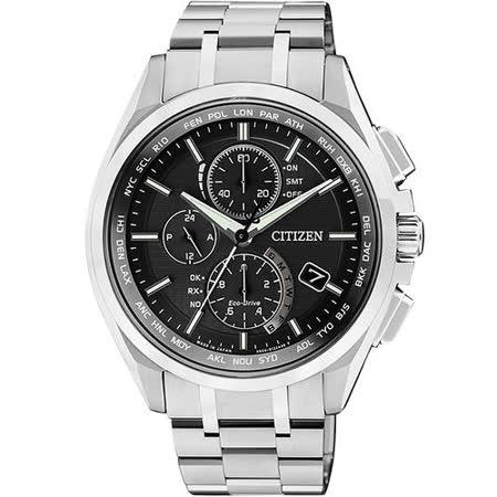 CITIZEN Eco-Drive 五局電波【鈦】萬年曆腕錶-黑 AT8050-53E