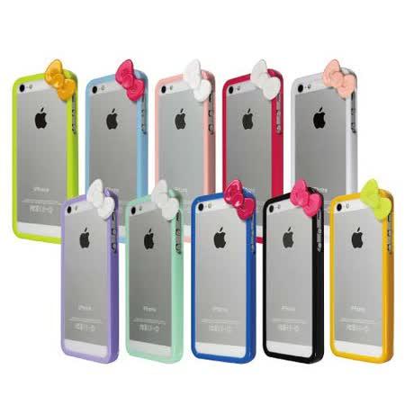 [ZIYA] iPhone 5 炫彩蝴蝶結雙色邊框