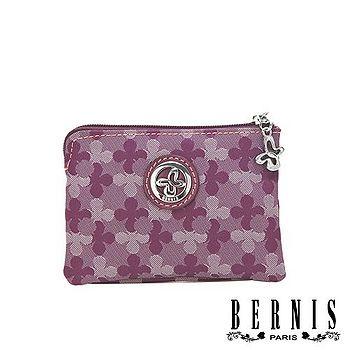 【BERNIS貝爾尼斯】幸運Clover 簡約單拉鍊後口袋零錢包-Happiness薰紫