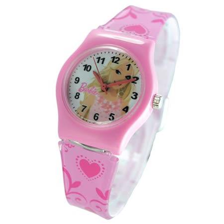 Barbie典雅芭比粉紅色膠帶卡通錶