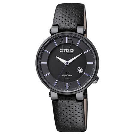 CITIZEN Eco-Drive光動能 優雅典範真皮女錶 EW1794-05E