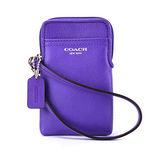 COACH 素面全皮革多功能手機套-紫色