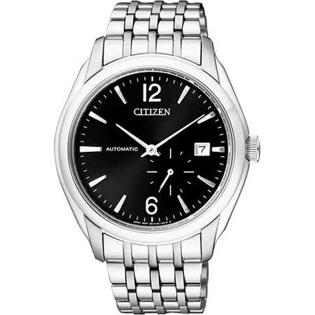 CITIZEN 爵士小秒針機械腕錶-黑/銀 NJ0060-57E