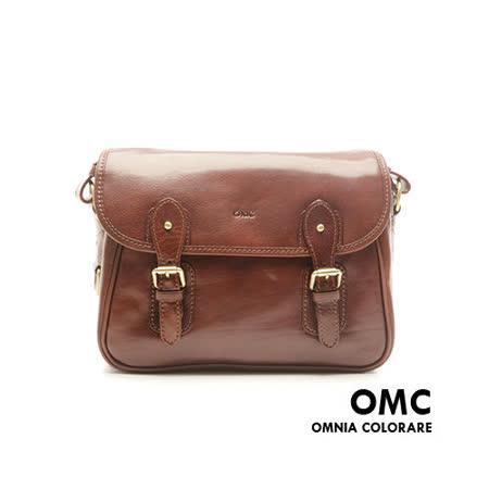 OMC - 韓國原皮魅力款真皮學院系翻蓋式側背包