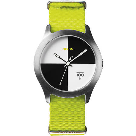 NIXON The Quad 混搭潮流時尚腕錶-黑x白/亮綠 A344-1262