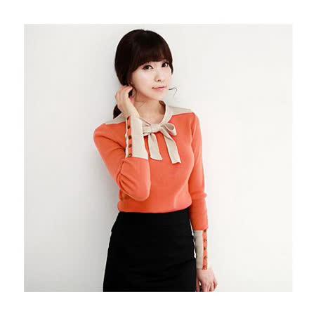 【韓系女衫】新款拼接設計紐扣裝飾打底衫