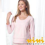 《nini專櫃孕婦裝》圓領領薄哺乳衛生衣-粉紅.黑色(HK27)