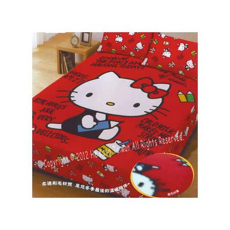 【三麗鷗】HELLO KITTY 刷毛毯雙人床包組-我的筆記本