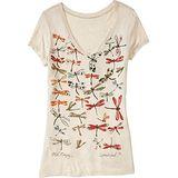 預購。美國【OLD NAVY-2】女裝Watercolor水彩蜻蜓V領短T恤(米白)