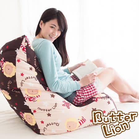 【奶油獅】抬腿縮腹搖滾星星懶骨頭沙發椅(卡其咖啡)