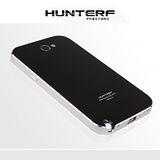 【Samsung Note2航空鋁殼】HUNTERF超強散熱鋁合金金屬邊框後蓋手機殼-黑底銀邊