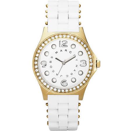 Marc Jacobs MBMJ 純愛點點晶鑽時尚腕錶-白 MBM2534
