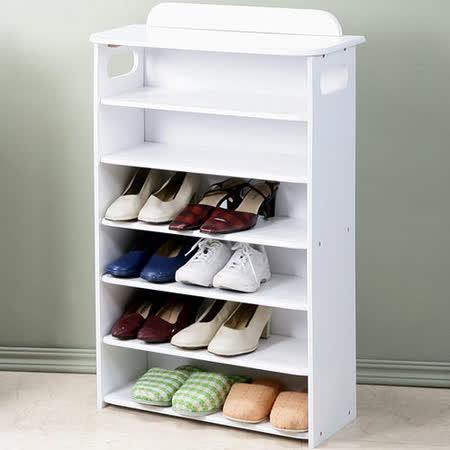 Homelike 新古典歐風六層鞋櫃(純白色)