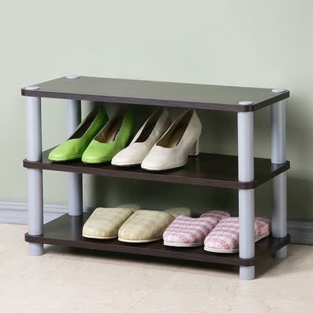 Homelike 簡約三層開放式鞋架(胡桃色)