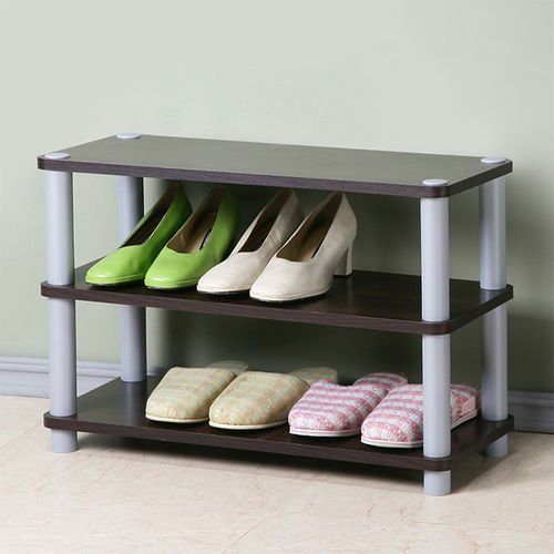 Homelike 簡約三層開放式鞋架^(胡桃色^)