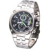 CITIZEN OXY 競速風潮三眼計時腕錶-黑/ 綠秒針