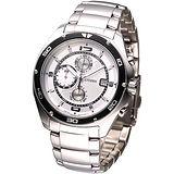 CITIZEN OXY 動感新系列三眼計時腕錶-白