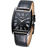 SEIKO Solar 環保光動能經典腕錶-黑
