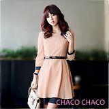 預購【CHACO韓國】秀雅迷人雙層裙擺七分袖洋裝+皮帶CLDA-O-17 粉色ML