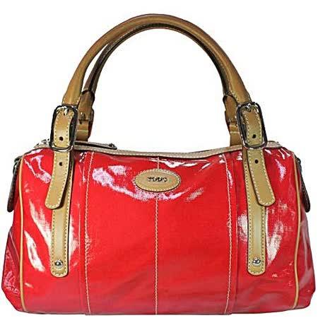 TOD'S G-Bag BAULETTO紅色漆亮帆布手提/肩揹包