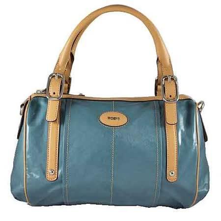 TOD'S G-Bag BAULETTO藍色漆亮帆布手提/肩揹包