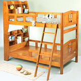 《BuyJM》馬克3.5呎單人加大書架型實木雙層床