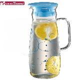 CafeDeTiamo 玻璃水壺(有把)【藍色幾何圖案】1000ml HG2214
