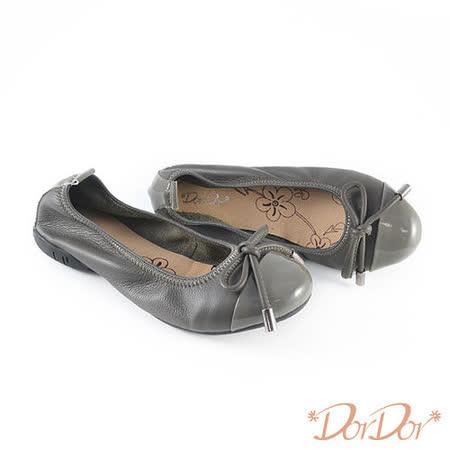【DorDor朵朵】純正牛皮百搭素面蝴蝶結低跟包鞋-灰(歐碼:35-40)