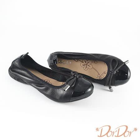【DorDor朵朵】純正牛皮百搭素面蝴蝶結低跟包鞋-黑(歐碼:35-40)