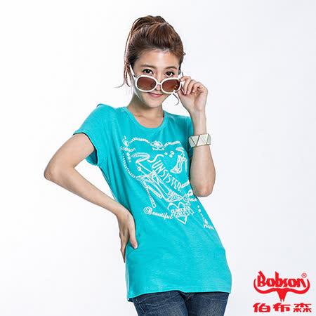 BOBSON 女款高跟鞋印圖短袖上衣(水藍22133-58)