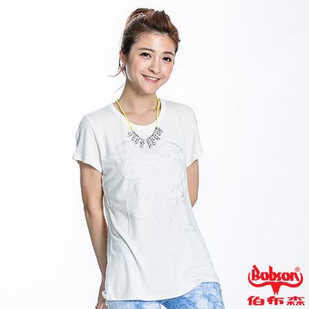 BOBSON 女款高跟鞋印圖短袖上衣(米白22133-81)