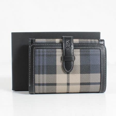 【BEVERLY HILLS POLO】經典灰藍格紋 穿式零錢袋中夾 BH-2626