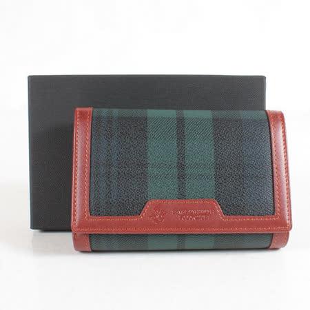 【BEVERLY HILLS POLO】皇家綠格紋 內折疊零錢袋中夾BH-2084