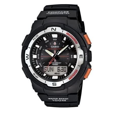 CASIO 戶外運動全新指針數位雙顯錶SGW-500系列(黑)