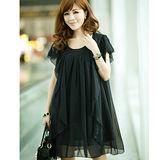 【公主衣櫃 中大尺碼】雪紡荷葉花邊修身洋裝-黑色 預購MS925