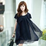 【公主衣櫃 中大尺碼】雪紡荷葉花邊修身洋裝-深藍色 預購MS925