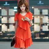 【公主衣櫃 中大尺碼】雪紡燙鑽層次感修身洋裝-橘色 預購MS920