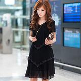 【公主衣櫃 中大尺碼】雪紡燙鑽層次感修身洋裝-黑色 預購MS920