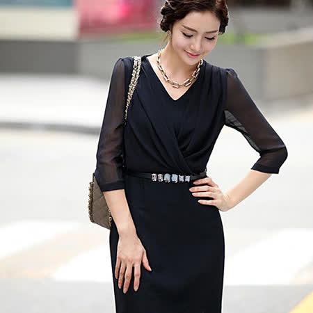 【韓系女衫】新款時尚高雅七分袖假兩件雪紡連衣裙