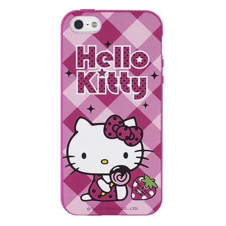 Sanrio 三麗鷗 Hello Kitty iPhone 5 甜點下午茶系列軟式保護套-草莓棒棒糖(贈保護貼)