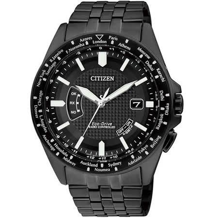 CITIZEN 精準掌握光動能全球5局電波錶(IP黑-CB0028-58E)