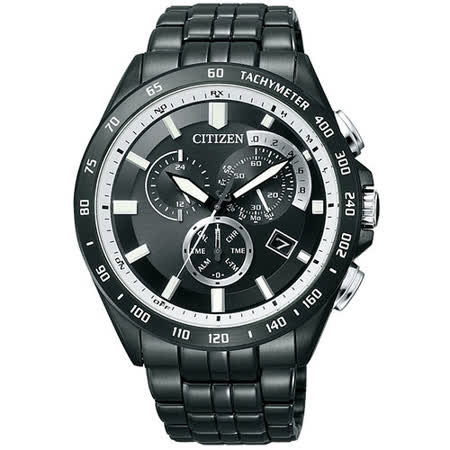 CITIZEN Eco-Drive 鬧鈴單局電波計時腕錶-IP黑 AT3005-55E