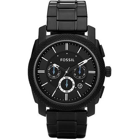 FOSSIL 領航者三眼計時腕錶-IP黑 FS4552