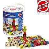 【德國HEROS 木製積木】歡樂字母彩裝積木桶 (40 pcs)