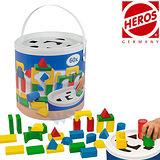 【德國HEROS 木製積木】形狀創意彩色積木桶 (60 pcs)