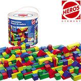 【德國HEROS 木製積木】幾何彩色積木桶 (100 pcs)