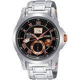 SEIKO Kinetic 專業萬年曆腕錶-黑/銀 7D48-0AL0K(SNP062J1)