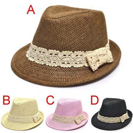 購物車:甜美《蕾絲蝴蝶結》兒童爵士帽 禮帽 草帽 (現貨+預購)
