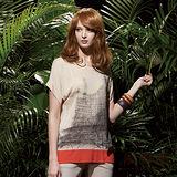 【麥雪爾】自然奧妙~都會繪風雙色拼接寬袖針織上衣